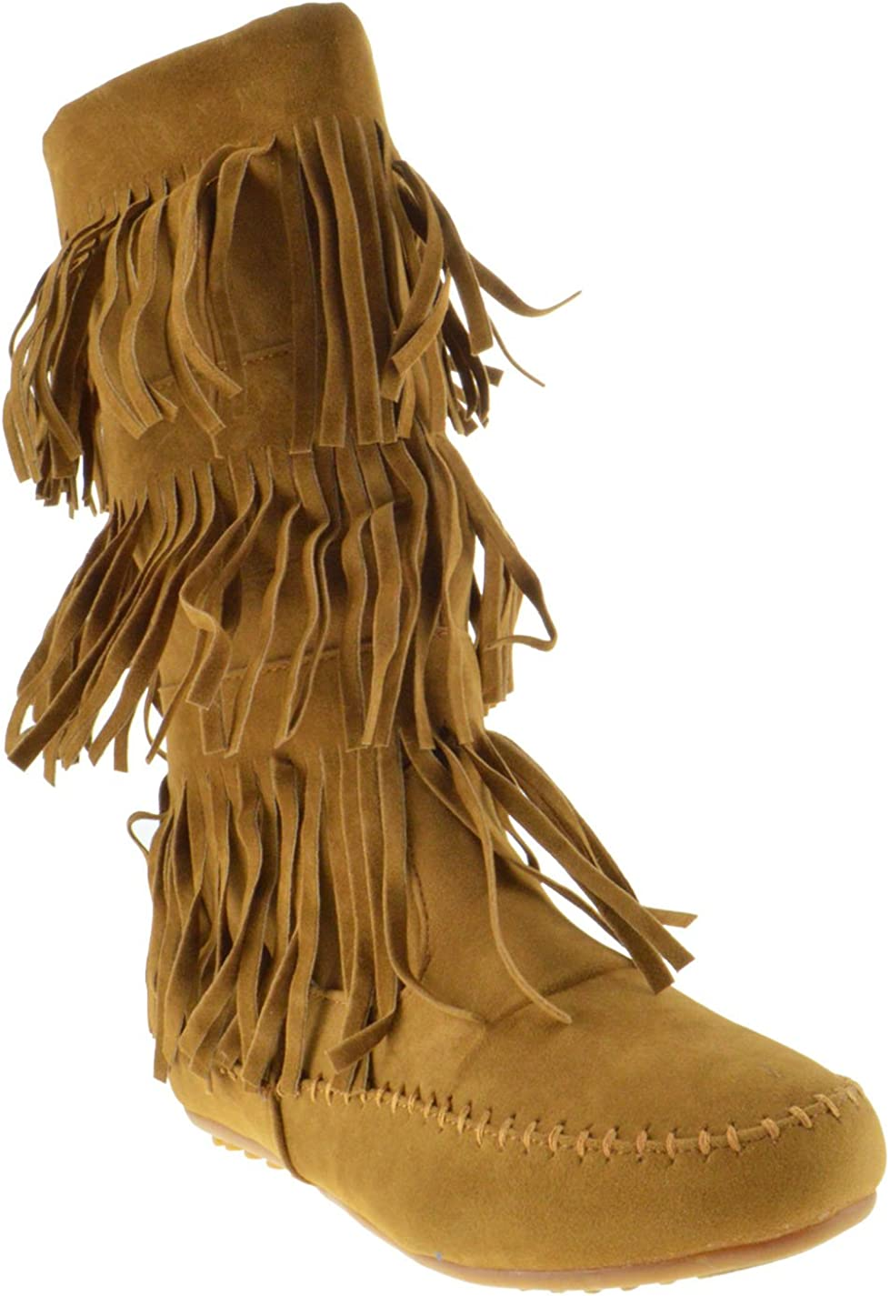 SHOEDEZIGNS L 3228-1 Womens Fringe Moccasin 3 Layer Mid-Calf Boots