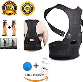 Orthodontic Back Brace Lumbar Pain Herniated Disc, Sciatica, Scoliosis and Posture fix with Massage Ball Trigger Point and Booklet for Massage Areas Plus Back Stretches