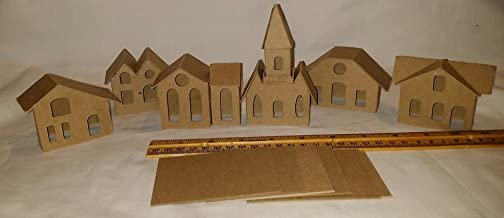 Putz Style DIY Cardboard Houses-Set of 6 Mini Vintage Houses with Small Light Hole