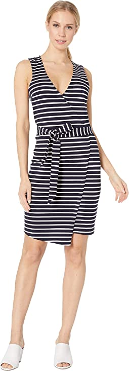 Yacht Party Stripe Ponte Dress with Waist Tie