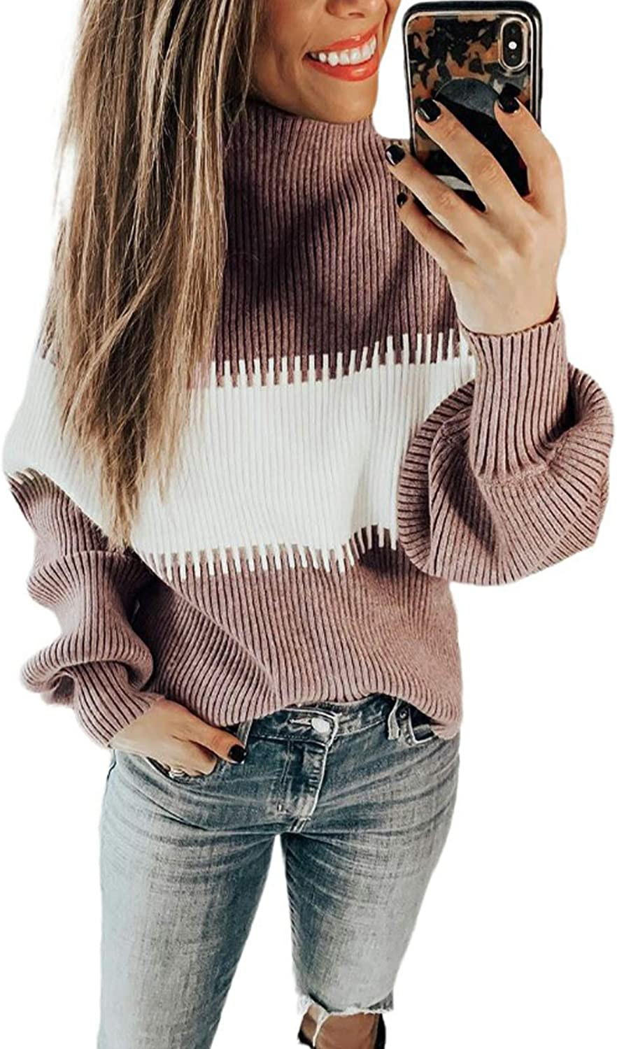 Women's Turtleneck Sweaters Patchwork Long Sleeve Knitted Pullover Tops