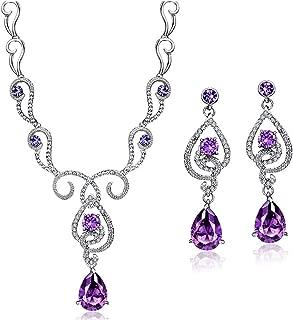 Purple Cubic Zirconia Teardrop Jewelry Set Necklace Earrings Wedding Bridal Women Jewelry Embellished with Crystals from Swarovski