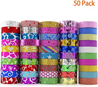 50 Rolls Glitter Washi Tape Set, YuBoBo Washi Masking Decorative Tapes for DIY Decor Planners Scrapbooking Adhesive School/Party Supplies