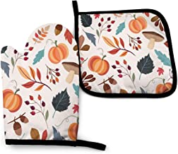 Oven Mitts And Pot Holders Sets For Microwave Bbq Cooking Baking Grilling Barbecue Thanksgiving Day Autumn Leaves Oven Glo...