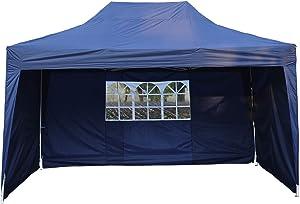 Homcom Tonnelle Tente de Reception Pliante pavillon chapiteau Barnum 3 x 4,5 m Bleu