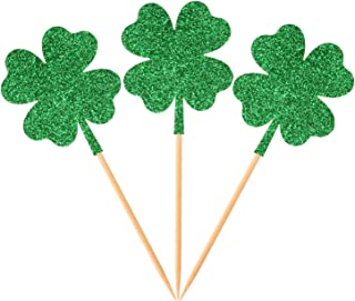 Donoter 36 Pcs Four Leaf Clover Cupcake Toppers Glitter Green Shamrock Food Picks for St.Patrick's Day Party Cake Decoration