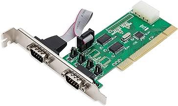 2 Port Industrial DB9 RS-232 Serial PCI Card - Serial COM Port RI +5V +12V - Molex Powered - WCH351 Chipset - 16C550 UART