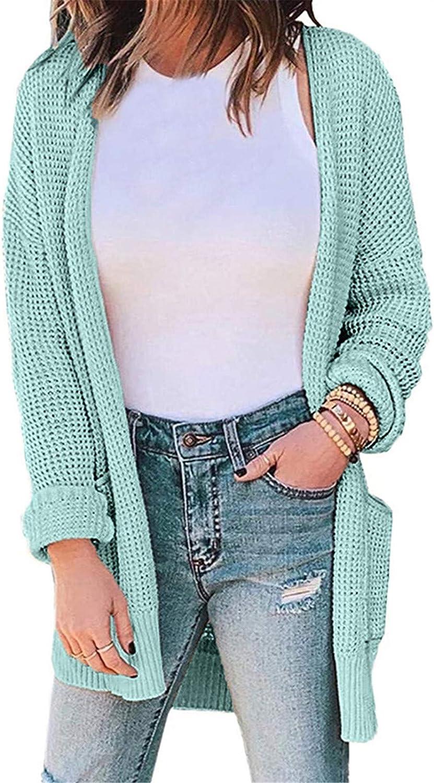 RiamxwR Pocciol Cardigan Sweater for Women Solid Color Cardigan Sweater Thin Sweater Coat wth Pockets Loose Outerwear