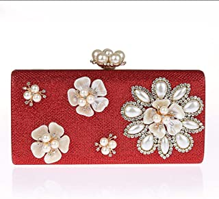 NSHUN Womens Glitter Floral Pearl Beaded Clutch Evening Bags for Women Formal Bridal Wedding Clutch Purse Prom Cocktail Party Handbags Bridal Purse (Color : Red)