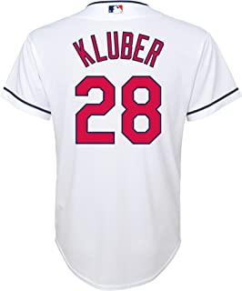 Outerstuff Corey Kluber Cleveland Indians #28 White Youth Cool Base Home Replica Jersey