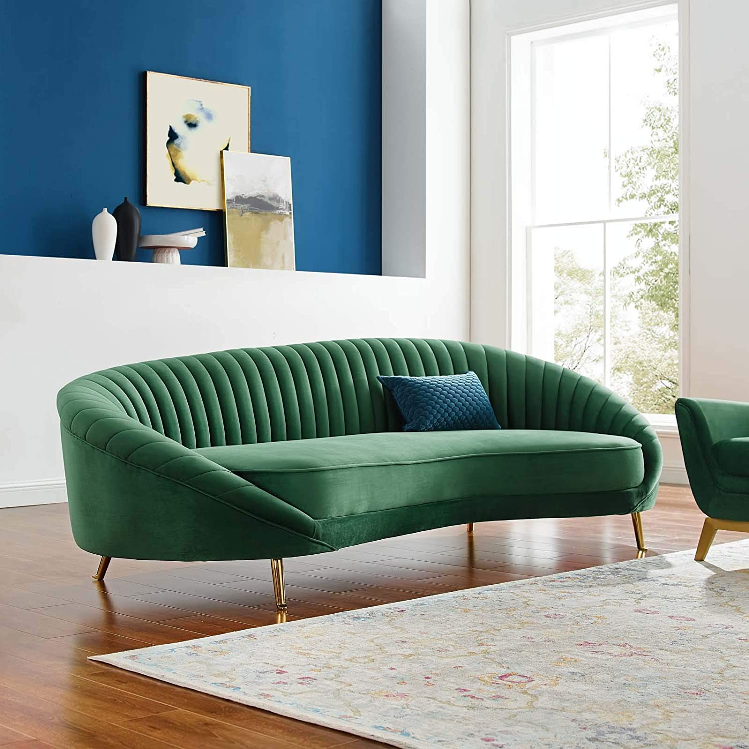Modway Camber Channel 2021 autumn and winter new Tufted Performance Velvet Emerald Sofa Spring new work in