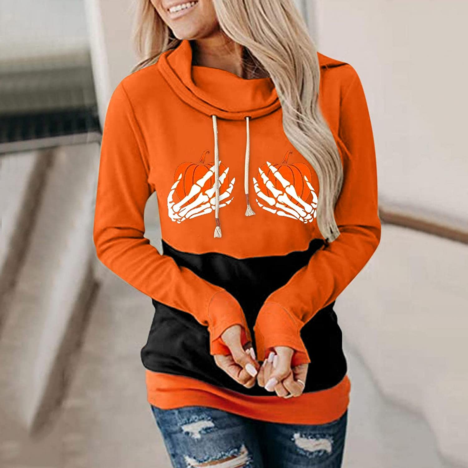 UOCUFY Hoodies for Women, Womens Halloween Funny Graphic Cowl Neck Sweatshirts Pullover Casual Long Sleeve Hoodies Tops