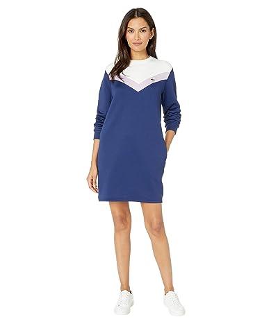 Lacoste Long Sleeve French Terry Color-Block Dress (Methylene/Provence Purple) Women