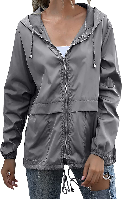 Womens Hooded Coat Casual Long Sleeve Bomber Jacket Outerwear Windbreaker Fashion Zipper Waterproof Jacket Raincoat
