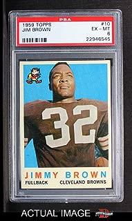 1959 Topps # 10 Jim Brown Cleveland Browns-FB (Football Card) PSA 6 - EX/MT Browns-FB
