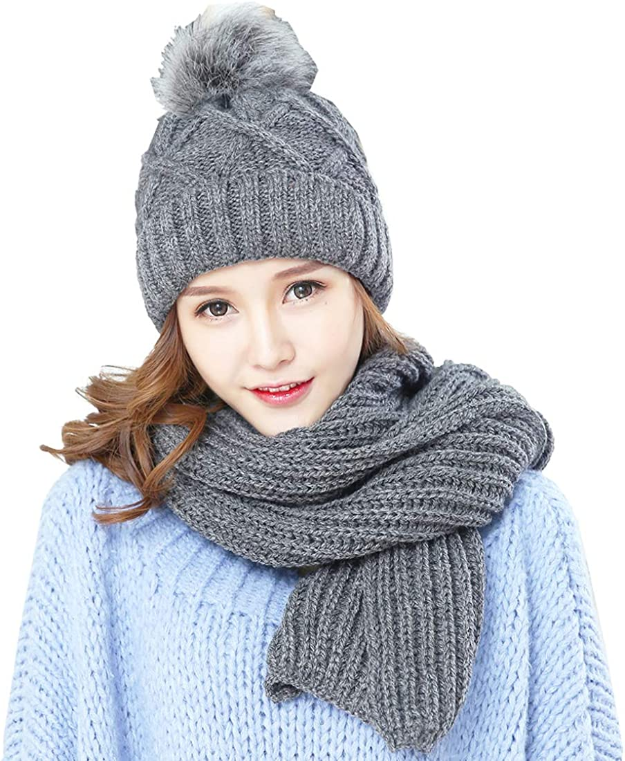 KRATARC Cold Winter Women Warm Year-end annual account Scarf safety Hat Flee Beanie Set Knitted