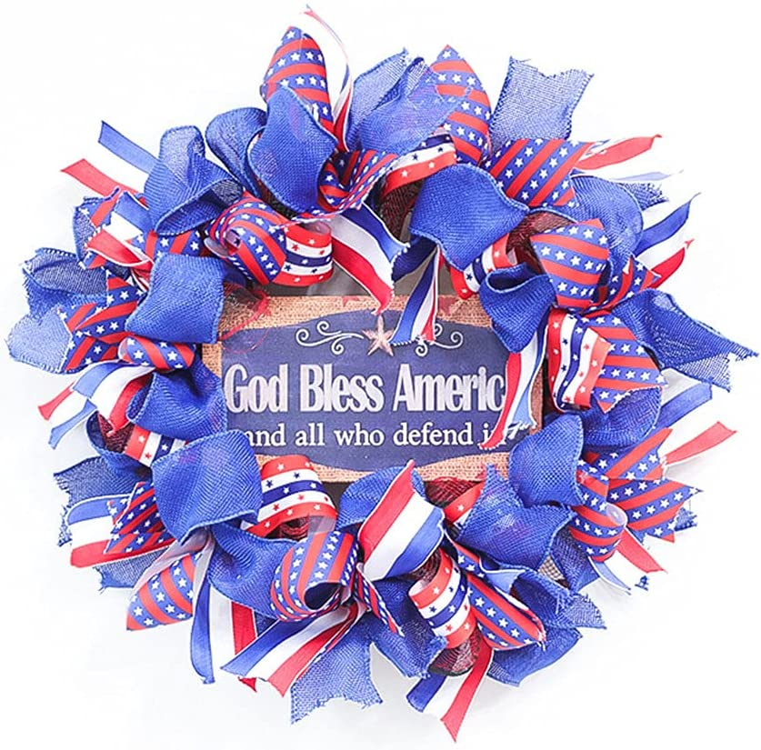 4th of July Patriotic Wreaths Red Shipping included Blue Popular White Hanging Decoration