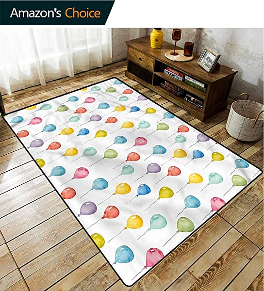 TableCoversHome Kids Print Door Mats For Inside Flying Watercolor Balloons Pattern Printing Rugs Fashionable High Class Living Dinning Room 2 5 X 9