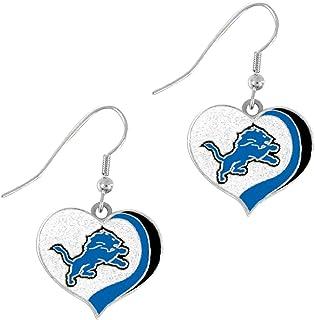 PSG NFL Detroit Lions Detroit Lions Earrings Glitter Heart, Blue, Small
