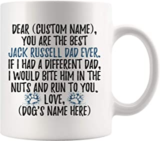 Personalized Jack Russell Terrier Dog Dad Mug, Jack Russell Dog Men Gifts, Jack Russell Dog Daddy Mug, Russell Terrier Dog Owner Gift (11 oz)