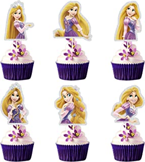 LYNHEVA Glitter Rapunzel Inspired Cupcake Topper, Tangled Theme Birthday Party Suppliers, Disney Princess Rapunzel Cupcake...