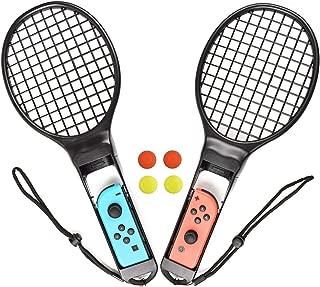 TURPOW テニスラケット Nintendo switch Joy-Con用 テニスラケット テニスゲームラケット 2個セット テニスラケットマリオテニスラケット 耐久性 Joy-Conハンドル 精確対応 高感度 臨場感 black (2 pack) (type 1)