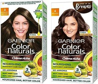 Garnier Color Naturals Crème hair color, Shade 3 Darkest Brown, 70ml + 60g & Garnier Color Naturals Crème hair color, Sh...