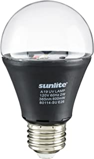 Sunlite 80114-SU LED A19 Black Light Bulb, 2 Watt, Medium Base (E26), 365nm Wavelength, Glow Parties, Blacklight Blue, Decoration, Special Effects, Security Applications, ETL Listed, 1 Pack
