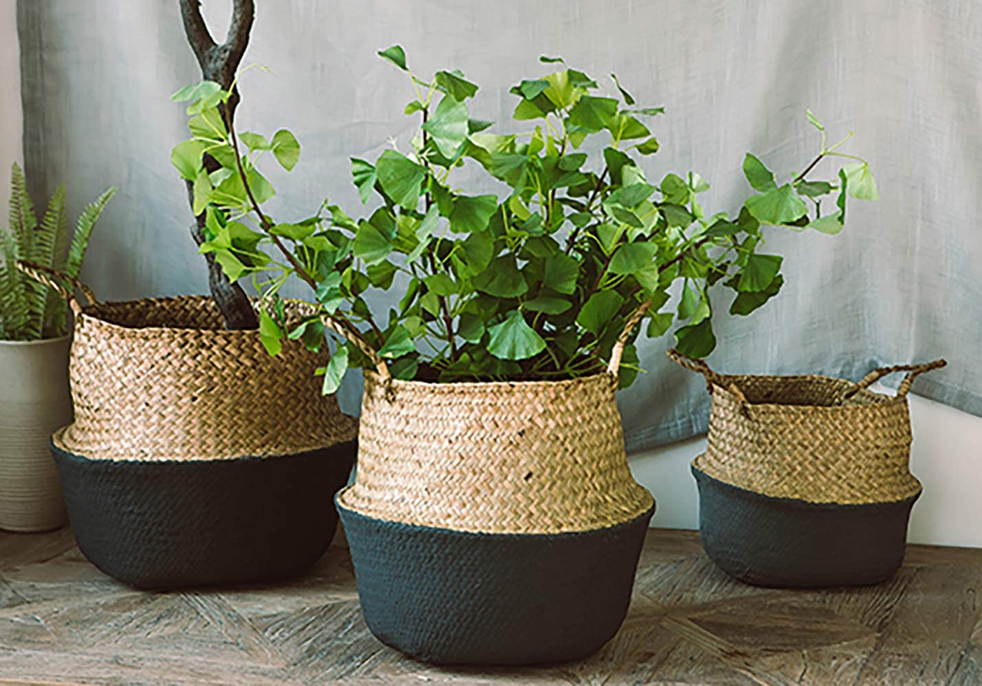 Toy Storage Laundry Picnic Black Hand Woven Plant Basket with Handles Plant Pot Cover M Perfect for Storage Yesland 2 Pack Seagrass Belly Basket