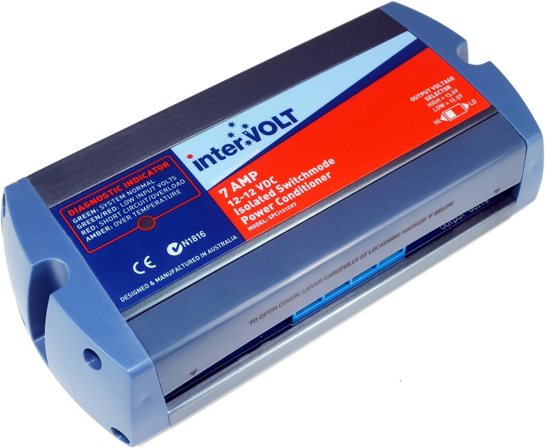 interVOLT 12V DC Stabilizer / Voltage Regulator / Power Conditioner / Battery Charger (10-16 VDC Input - 12.5/13.6 VDC Output) - Heavy Duty 7A DC-DC Isolated - Model SPCi121207