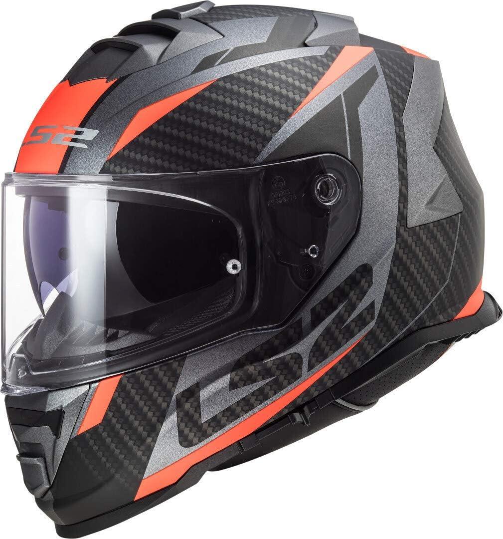 Ls2 Motorradhelm Ff800 Storm Racer Titanium Fluo Orange Schwarz Orange M Auto