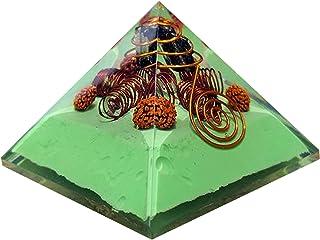 Tormalina nera con piramide di orgra Rudraksha Successo Strumento di cura della ricchezza Equilibrante Orgone Energia Rega...