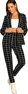 Women's Two Piece Plaid Open Front Long Sleeve Blazer and Elastic Waist Pant Set Suit