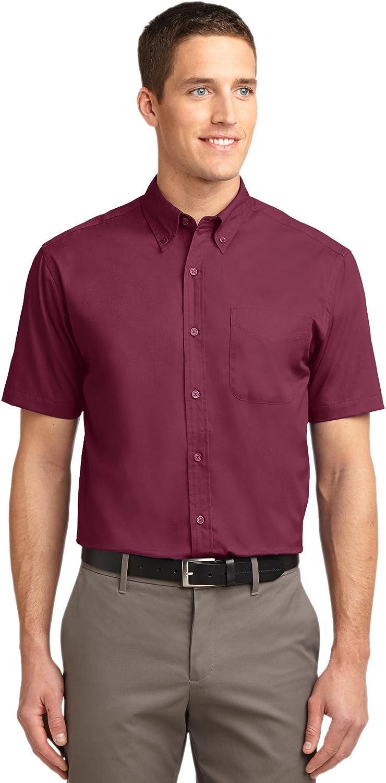 Port Authority Men's Big Short-Sleeve Easy Care Dress Shirt - Burgundy/Light StoneS508 S