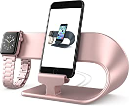 Stand Replacement for Apple Watch Series 4 3 2 1 and iPhone, PUGO TOP Apple Watch Stand iPhone Charger Station-Rose Gold