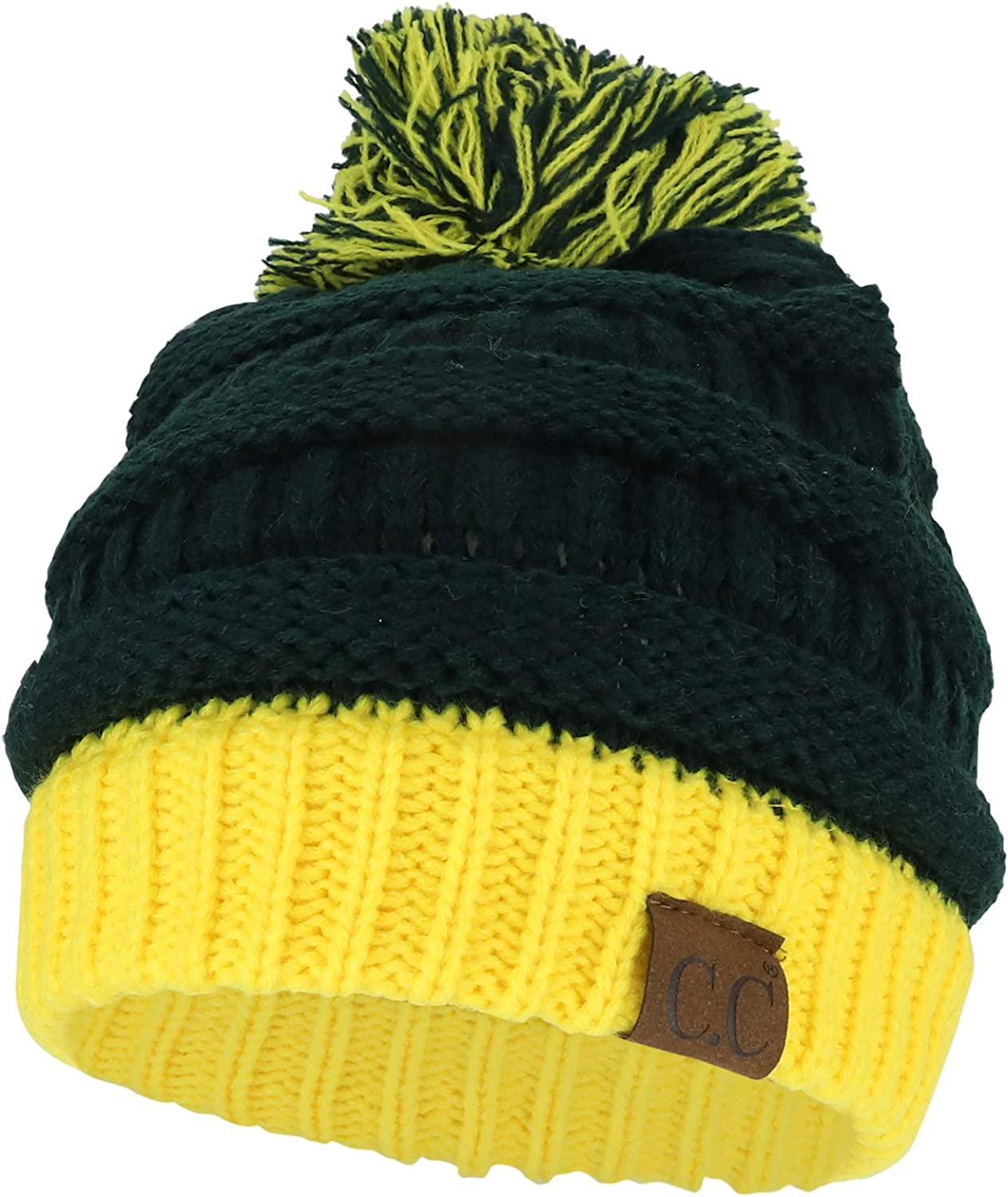Trendy Apparel Shop Two Tone Cable Knit Winter Pom Beanie