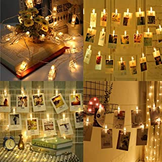 Dopheuor LED Photo Clip Copper String Lights Starry Fairy Warm White Lights Battery Powered for Hang Pictures Cards Bedroom Wall Decorations Christmas Patio Halloween Thanksgiving Wedding Party Décor