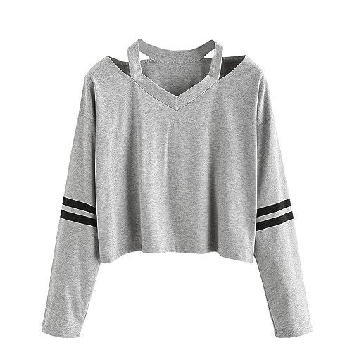 1f134d161638 Londony Streetwear Women Long Sleeve Crop Tops Stripe Hoodie Pullover  Sweatshirt Loose Tops