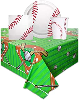 Baseball Themed Birthday Party Supplies - Includes One Tablecloth, 16 Party Napkins, 16 Party Plates, 16 Cups
