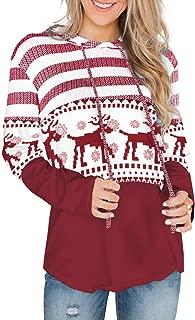 Womens Striped Color Block Long Sleeve Knit Drawstring Hoodie Pullover Sweatshirts