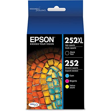 EPSON T252 DURABrite Ultra Ink High Capacity Black & Standard Color Cartridge Combo Pack (T252XL-BCS) for select Epson WorkForce Printers