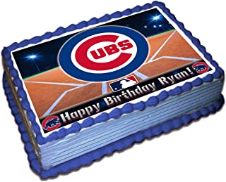 Chicago Cubs MLB Personalized Cake Topper Icing Sugar Paper 1/4 8.5 x 10.5 Inches Sheet Edible Frosting Photo Birthday Cake Topper (Best Quality Printing)