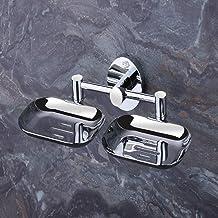 U-S-F BATH ACCESSORIES ARYAN USF Puma 304 Stainless Steel Anti Rust Corrosion-Free Double Dish-Bathroom Soap Holder, Mediu...