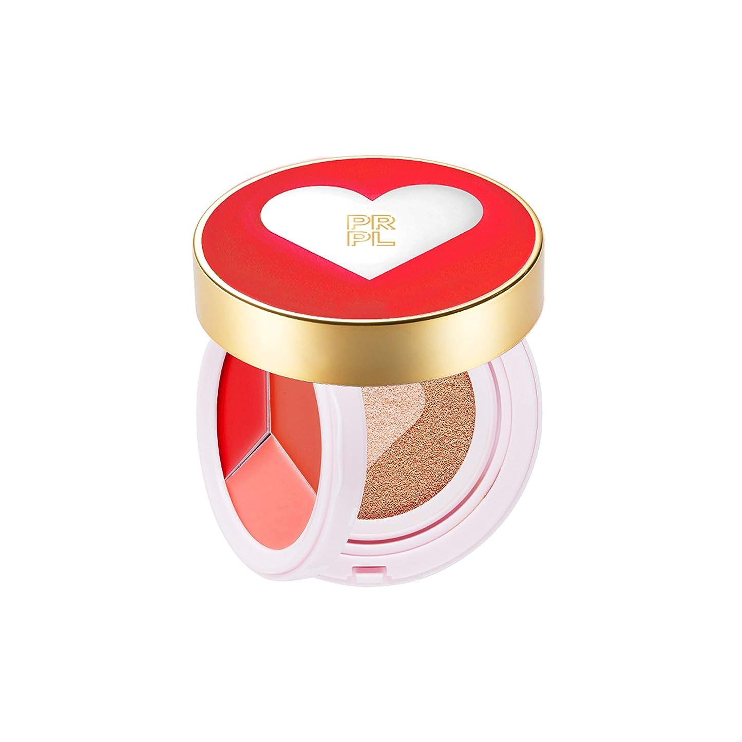 円形プレート農業のPRPL Kiss and Heart Double Cushion (Red Edition) #21 Pure Ivory - Korean Make-up, Cushion Foundation, Korean Beauty, Lip and Cheek, Dual Cushion