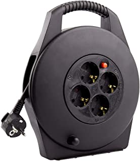 Carrete Alargador de Cable 10m 3x1.5 mm Negro