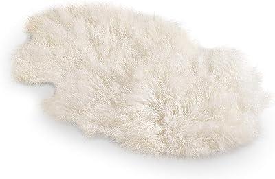 "SARO LIFESTYLE Tibetan Lamb Fur, Ivory, 20"" x 35"""