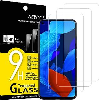 NEW'C 3-pack skärmskydd med Huawei Nova 5T – Härdat glas HD klar 9H hårdhet bubbelfritt