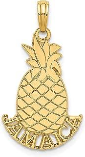14k Yellow Gold Jamaica Word Under Pineapple Shaped Pendant 21x15mm