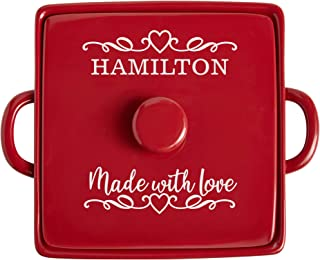 Let's Make Memories Personalized Made with Love Stoneware 3 Qt Casserole Dish - Unique Baking Dish - Red Kitchen Ware - Cu...