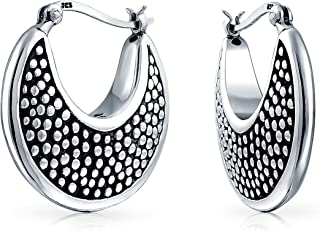 245eeb124 Bali Style Hollow Lightweight Crescent Moon Shaped Boho Caviar Hoop Earrings  For Women Oxidized 925 Sterling